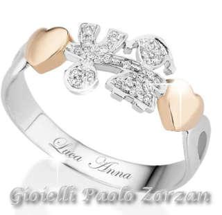 Anello Le Bebè Bimbo E Bimba Oro Bianco Rosa 18 Kt , Diamanti Ct. 0.08 Colore G. Lbb113   Gioielli Donna Anelli
