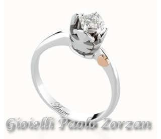 Anello Solitario Le Bebè Bimba Oro 18 Kt  Bianco Diamanti Ct. 0.20 G. Lbb215   Gioielli Donna Anelli
