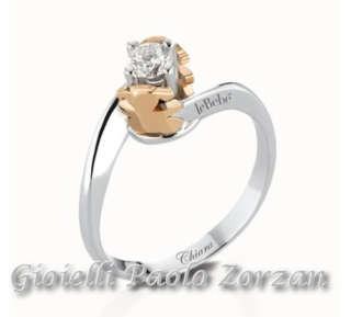 Anello Solitario Le Bebè Bimba Oro Bianco E Rosa 18 Kt , Diamanti Ct. 0.20 G. Lbb225   Gioielli Donna Anelli