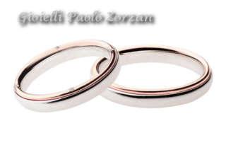FEDI Matrimoniali ANELLI Nuziali POLELLO oro bianco e rosa 18 kt con DIAMANTE Ref. 2697UBR 2697 DBR   Fedi Nuziali Fedi Bicolore