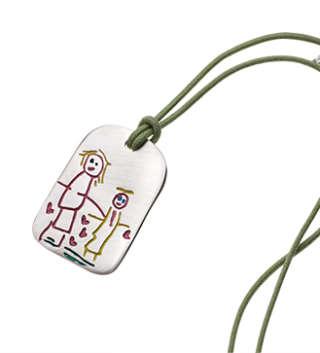 INK KIDS Ciondolo Piastra in argento con il disegno dei tuoi bimbi. KCP     Gioielli Donna Collane Gioielli Uomo Collane