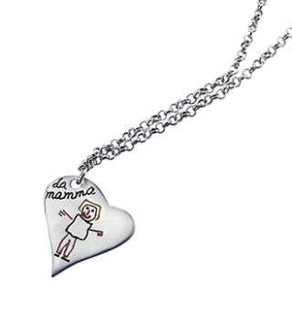 INK KIDS Ciondolo cuore e catena in argento con il disegno dei tuoi bimbi. KCCK     Gioielli Donna Collane Gioielli Uomo Collane