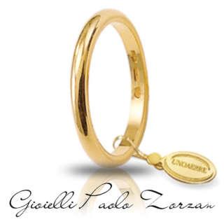 Fede Matrimoniale UNOAERRE Francesina 3 grammi Oro giallo  Mod.   30 AFN 4 col.01   Fedi Nuziali Fedi Francesine