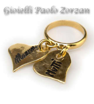 Anello INK Heart con due pendenti a cuore in argento 925 bagno oro giallo Ref. R04_G-0