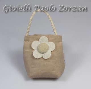 Bomboniera porta confetti borsetta con fiore in stoffa Ref. ESSE/91-0