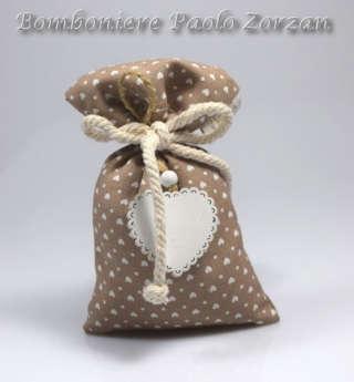 Bomboniera porta confetti sacchettino con cuore stampato Ref. ESSE/98-0
