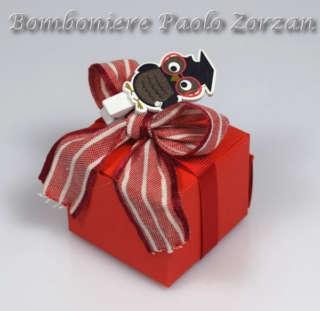 Bomboniera porta confetti scatolina con gufetto laurea Ref. LA02-0