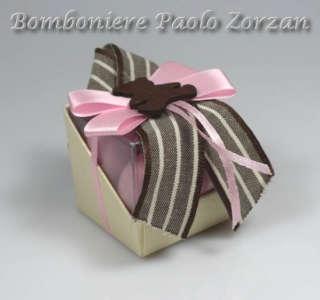 Bomboniera porta confetti scatola con fioccho e orsetto Ref. RT01R-0