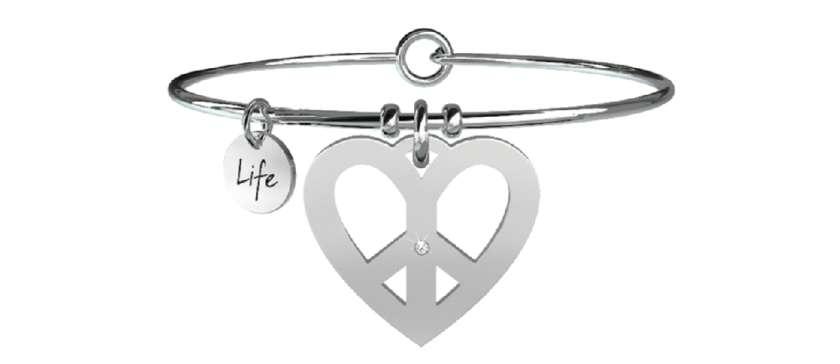 Collana kidult in acciaio 316L e cristalli con ciondolo cuore pace - cod 731086   Collane Gioielli Donna