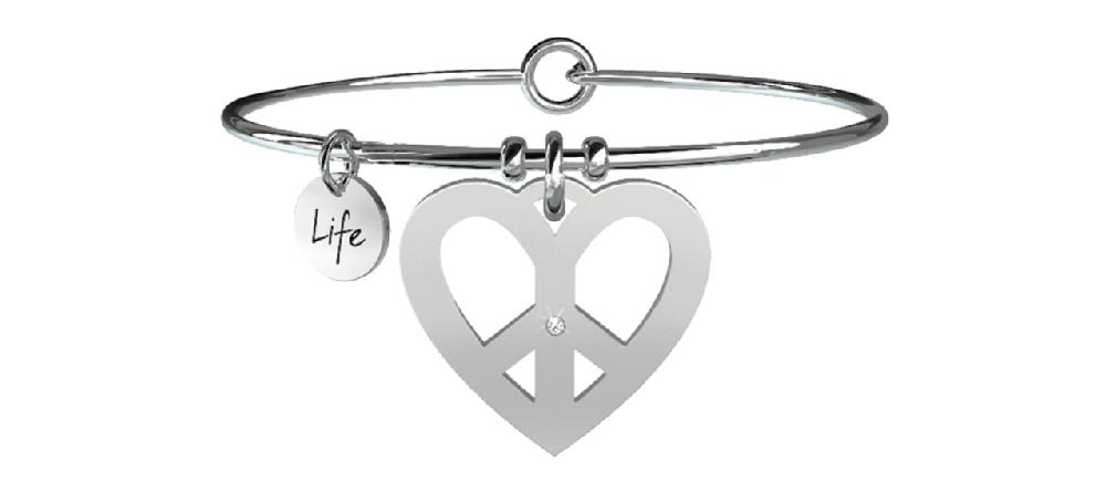 Collana kidult in acciaio 316L e cristalli con ciondolo cuore pace - cod 731086-0