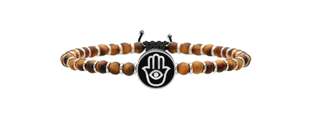 Bracciale Kidult UOMO SPIRITUALITY Bracciale occhio di tigre e acciaio - cod.731221 -0