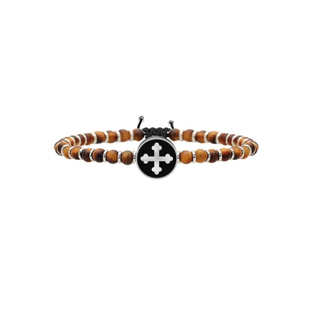 Bracciale Kidult Uomo – Croce di San Michele | Arcangelo Guerriero – in Acciaio e Occhio di Tigre – 731222-0