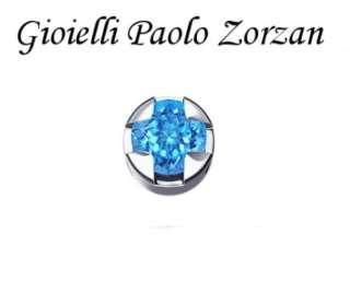 Elemento DONNA ORO GRIFFE TONDA ORO BIANCO E TOPAZIO BLU DCHY5504-0