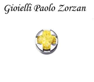 Elemento DONNA ORO GRIFFE TONDA ORO BIANCO E ZAFFIRO GIALLO DCHY5506-0