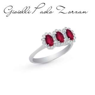 Anello Artlinea Trilogy con diamanti e rubini ref. AD587/RU-LB    Anelli Anelli Trilogy Gioielli Donna