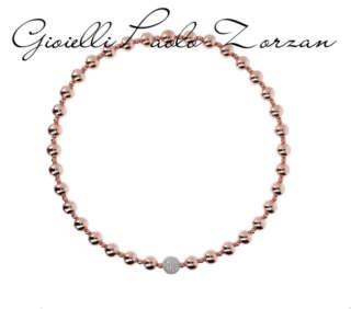 Collier Bronzallure Perline in Golden Rosè con Elemento in CZ WSBZ01175WR    Collane Gioielli Donna Girocolli