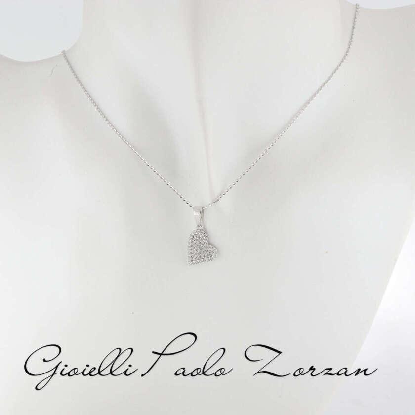 Collana Brillantata in Oro Bianco e Pendente Cuore con pavè di Zirconi ref. 10065389    Collane Gioielli Donna Girocolli