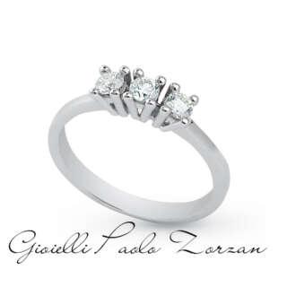 Anello Trilogy Artlinea in Oro Bianco con Diamanti tot ct 0.30 cod. AD349-LB    Anelli Anelli Trilogy Gioielli Donna