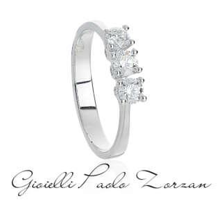 Anello Trilogy Artlinea in Oro Bianco con Diamanti tot ct 0.45 cod. AD774-LB    Anelli Anelli Trilogy Gioielli Donna