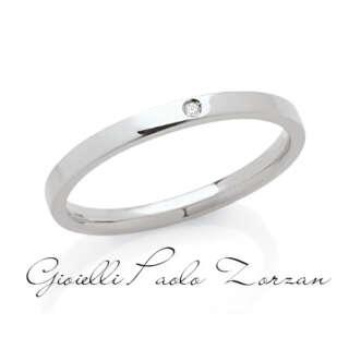 Fede Piatta Artlinea Classiche Oro Bianco con Diamante art. ADF174P-LB   Fedi Nuziali Fedi Piatte