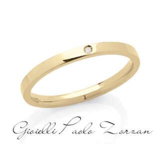 Fede Piatta Artlinea Classiche Oro Giallo con Diamante art. ADF174P-LG   Fedi Nuziali Fedi Piatte