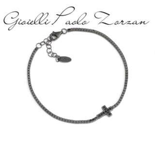 Bracciale Amen unisex in argento brunito e zirconi neri BCRN     Bracciali Gioielli Donna Gioielli San Valentino Per Lei