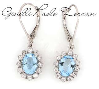 Orecchini Artlinea pendenti oro bianco acquamarina e diamanti OD182M-LB    Gioielli Donna Orecchini Orecchini Pendenti