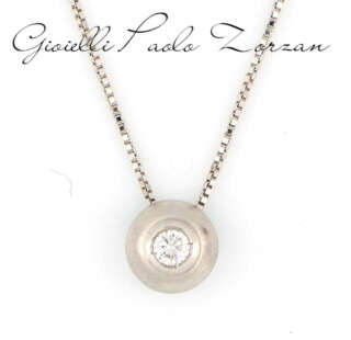Collana Gemoro punto luce in oro bianco satinato e diamante TPB0015BS.05    Collane Collane Punto Luce Gioielli Donna