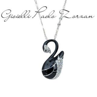 Collana Artlinea Cigno grande in argento 925, rodiato, smalto nero cubic zirconia ZCL1150-MB    Collane Gioielli Donna Girocolli