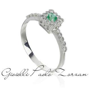 Anello in oro bianco 18kt con diamanti e smeraldo  AD778/SM-LB   Anelli Gioielli Donna