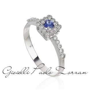 Anello in oro bianco 18kt con diamanti e smeraldo  AD778/ZB-LB   Anelli Gioielli Donna